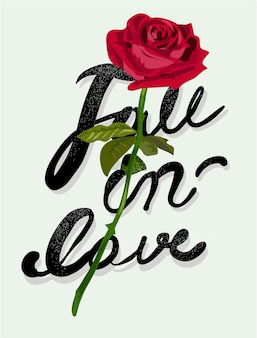 Typography slogan with rose illustratation