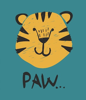 Typography slogan with tiger vector for t shirt printing