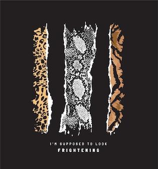黒の背景に野生動物の皮がはぎ取られたタイポグラフィのスローガン