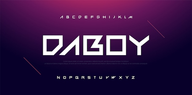 Typography sport modern technology alphabet font