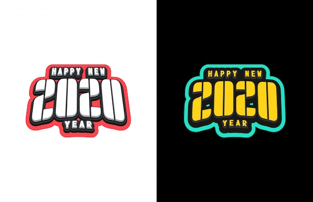 Typography sport super hero style emblem with text happy new year 2020