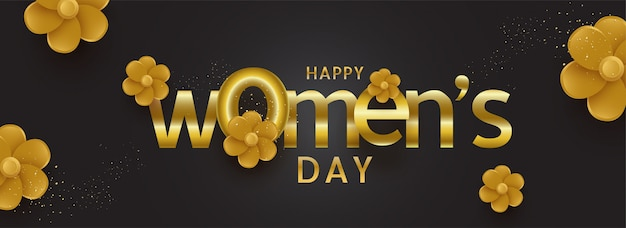 Typography of text happy women's day decorated