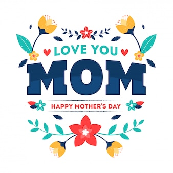 Typography text of love you mom