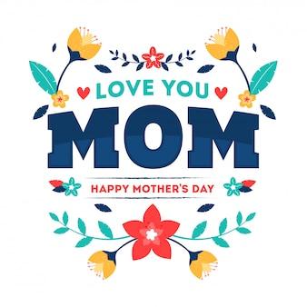 Love you momのタイポグラフィテキスト
