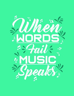 Typography words music vector for t shirt design