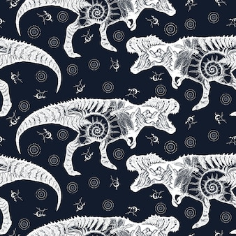Tyrannosaur double exposure. seamless pattern