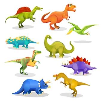 ティラノサウルスレソトサウルススティラコサウルスイグアノドンステゴサウルスディプロドクスアロサウルストリナクソドンarcheopteryxプテラドナン恐竜セット。先史時代の動物の生息地のコレクション。