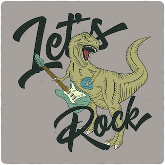 Tyrannosaurus playing on electric guitar