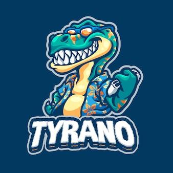 Шаблон логотипа игрового талисмана тиранозавра