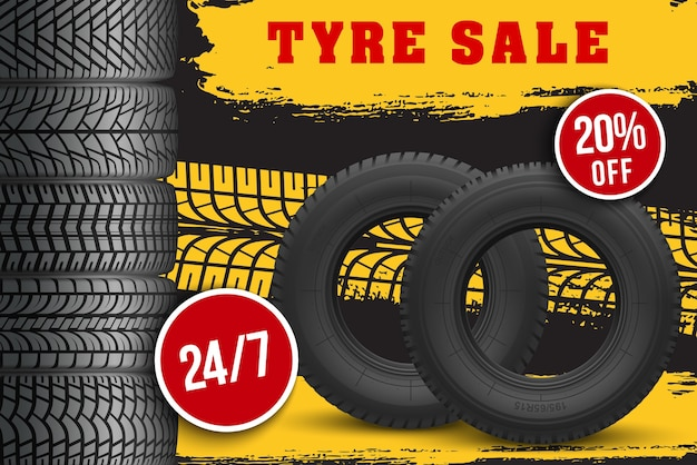 Tyre sale store promo poster with 3d tires and grunge black track tread marks