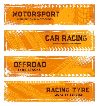 Tyre tracks, off road tire prints, grunge car racing treads