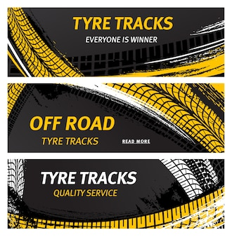 Tyre tracks, off road tire prints vector car grunge tread abstract marks