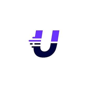 U буква тире строчная технология цифровая быстрая быстрая доставка движение синий логотип вектор значок иллюстрации