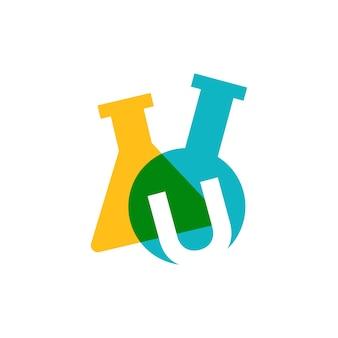 U letter lab laboratory glassware beaker logo vector icon illustration