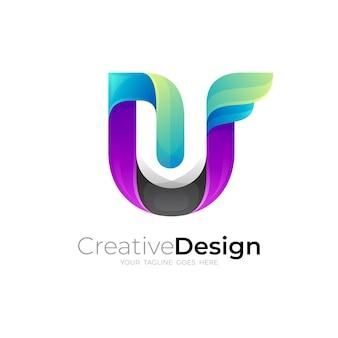 Uロゴテンプレート、3dカラフルなデザインの文字uロゴ