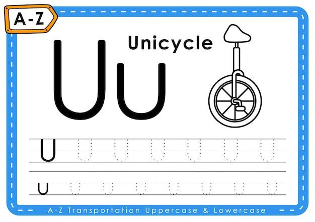 U - одноколесный велосипед: азбука азбуки трассировки транспортных букв