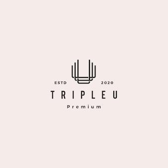 トリプルuモノグラムuuu手紙ヒップスターブランディングのためのレトロなビンテージレターマークロゴ