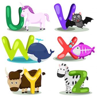 イラストレーターアルファベット動物レター -  u、v、w、x、y、z