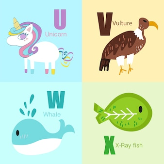 Uからxまでの動物のアルファベットイラスト集。