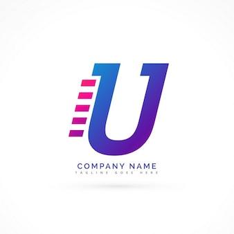Превышение скорости буквы u дизайн логотипа