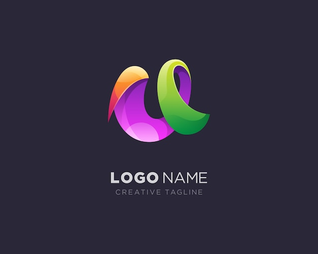 抽象的な創造的な手紙uロゴ