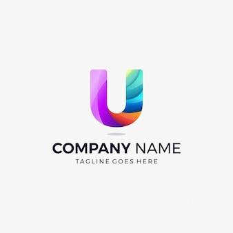 カラフルな文字uグラデーションロゴコンセプトデザインテンプレート