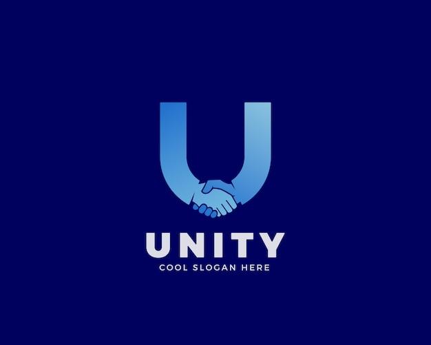 Единство знак, символ или логотип шаблонов. рукопожатие, включенное в письмо u концепции с четкой современной типографии.