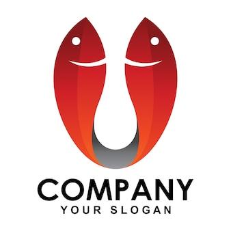 Буква u логотип рыбы