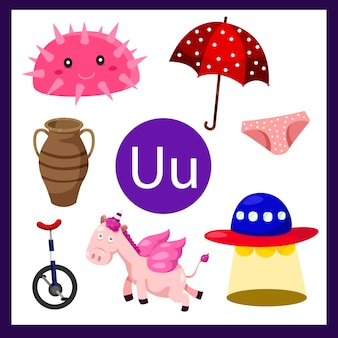 Иллюстратор алфавита u для детей