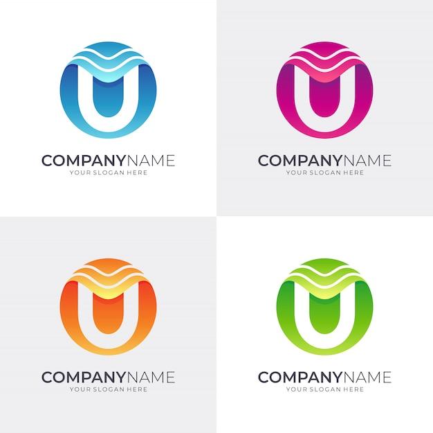 Буква u дизайн логотипа с волной