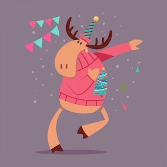 Uいクリスマスセーターで踊るかわいいトナカイ。