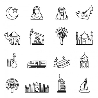 Uae; dubai icons set with white background.
