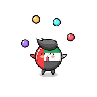The uae flag badge circus cartoon juggling a ball , cute style design for t shirt, sticker, logo element