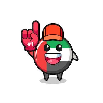 Uae flag badge illustration cartoon with number 1 fans glove , cute style design for t shirt, sticker, logo element