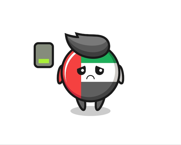 Uae flag badge mascot character doing a tired gesture , cute style design for t shirt, sticker, logo element