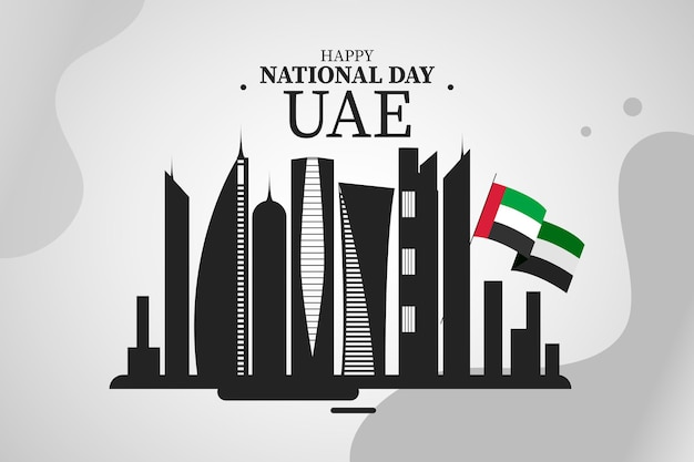 建物とアラブ首長国連邦建国記念日のイラスト