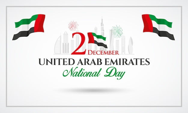Uae national day logotype with uae national flag and confetti.