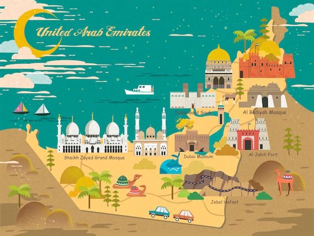 Карта концепции путешествия оаэ с достопримечательностями и специальностями