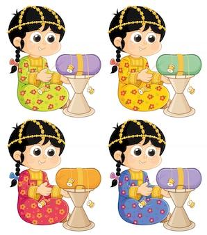 アラブ首長国連邦(uae)からの遺産活動少女は古い伝統的な衣装を着ています。