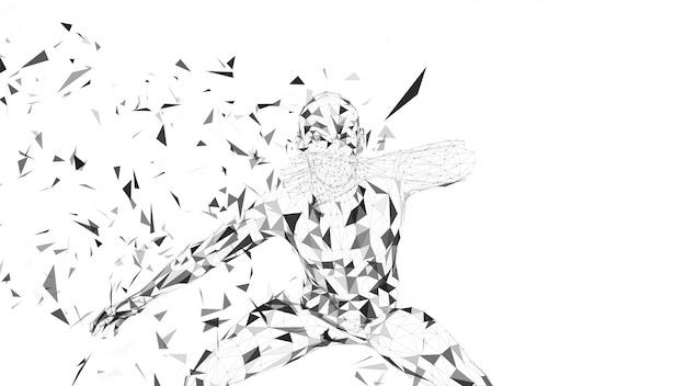Ual абстрактный человек, скрывая лицо рукой, концепция кибербезопасности, высокие технологии.