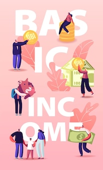 Ubi, universal basic income illustration. characters with coins and money