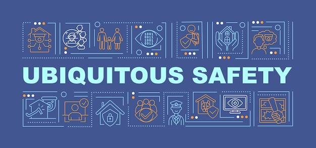 Ubiquitous security word concepts banner. cybersecurity technologies. infographics with linear icons on dark blue background. isolated creative typography. vector outline color illustration with text