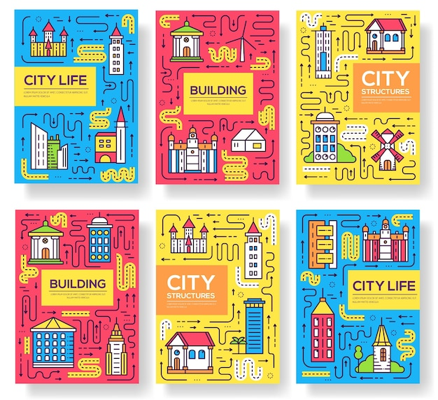 Uburban different buildings template of flyear