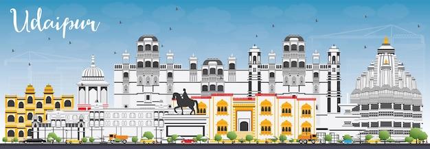 色の建物と青い空とウダイプールのスカイライン。ベクトルイラスト。歴史的な建築とビジネス旅行と観光の概念。プレゼンテーションバナープラカードとwebサイトの画像。