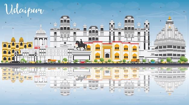 色の建物、青い空と反射のあるウダイプールのスカイライン。ベクトルイラスト。歴史的な建築とビジネス旅行と観光の概念。プレゼンテーションバナープラカードとwebサイトの画像。