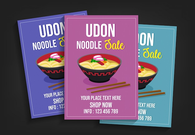 Udon noodle sale flyer template