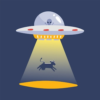 Ufo abducting a cow silhouette. alien space ship, futuristic unknown flying object cartoon sticker isolated. flat   illustration