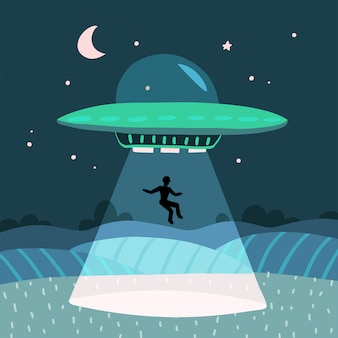 Ufo abducting a men, summer night farm landscape in the night field.   background with stars and moon in the sky. flat   illustration