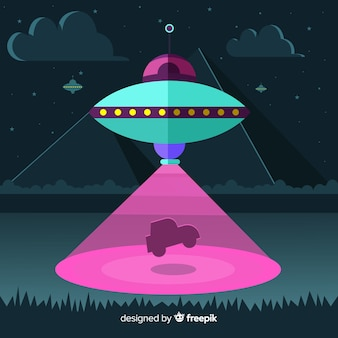 Ufo abduction concept with flat design