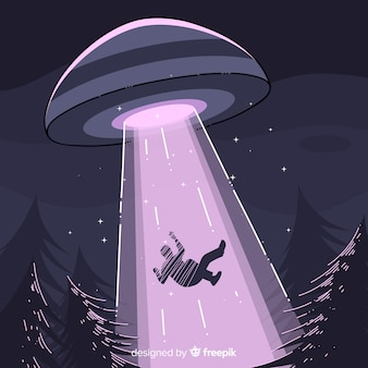Ufo abduction concept with hand drawn style